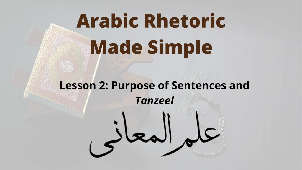 Purpose of Sentences in Arabic