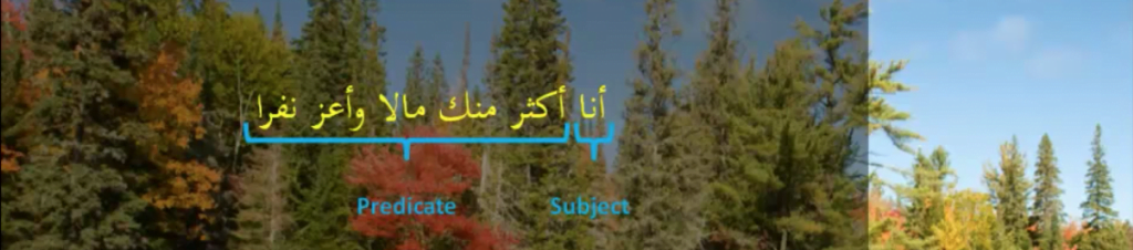 Separating between the 2 halves of a nominal sentence in Arabic