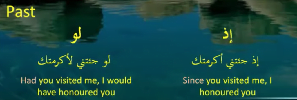 conditional particles in Arabic that indicate past